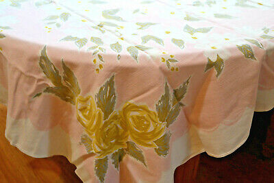 Vintage Tablecloth Roses Dogwood Flowers