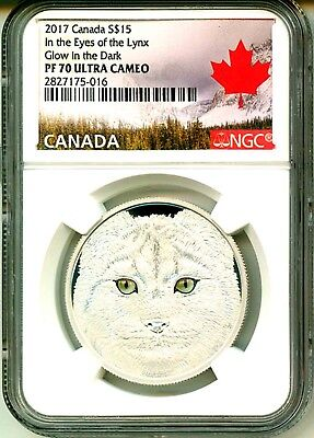 2017 Canada S$15 In The Eyes Of The Lynx Glow In The Dark NGC PF70 UC COA OGP
