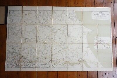 1903 Railway Clearing House RCH Map of Yorkshire District North Linen Backed