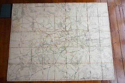 1921 Railway Clearing House Railway Map of London & Its Environs Linen & Bound