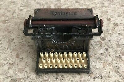 Vintage Die Cast Bronze Miniature Remington Typewriter Pencil Sharpener
