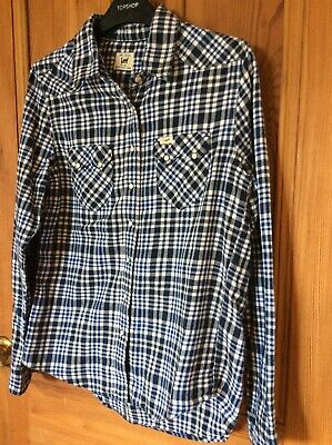 Ladies Lee Check Shirt. Brushed Cotton Size 8-10. Xs. Blue Check