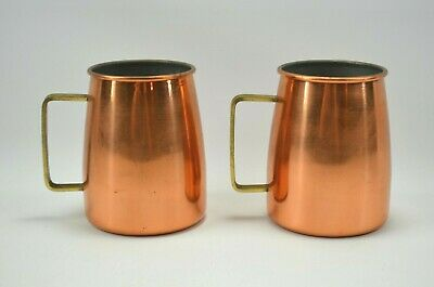 Set of 2 Vintage Solid Copper Mugs with Brass Handles Made in Portugal