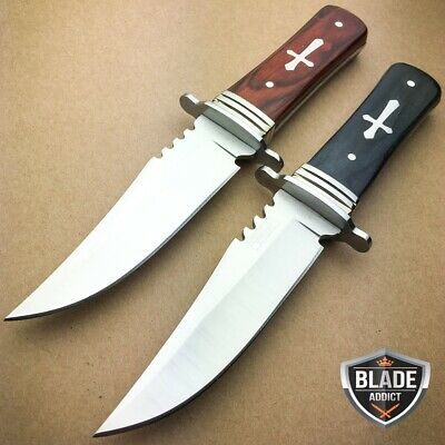 """2 PC 8"""" STAINLESS STEEL CELTIC CROSS HUNTING KNIFE WOOD HANDLE Gothic Skinning-b"""