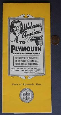 1950-60s Plymouth,Massachusetts souvenir brochure with map-Beaches-Woodlands!*