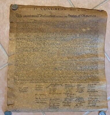 Declaration of Independence Vintage Parchment Replica John Hancock Insurance