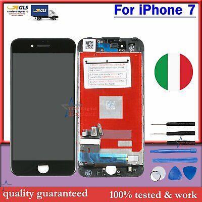 Display Schermo Completo Lcd Per Apple Iphone 7 7G Nero Touch Screen Vetro Frame