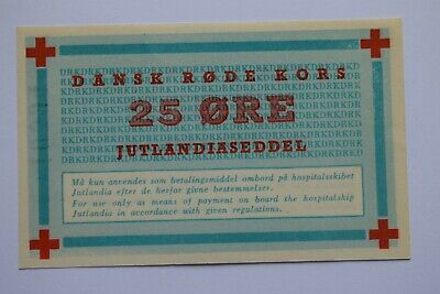 DENMARK 25 Ore Banknote (1951?) for use ONLY on JUTLANDIA Hospital Ship PERFECT!