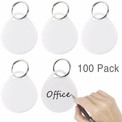 Uniclife Round Plastic Key Tags With Split Ring, White Label, 100 Pack