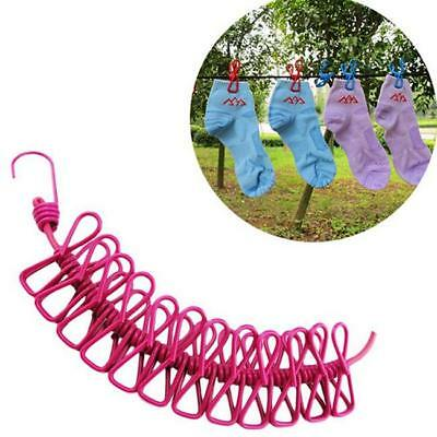 Travel Camping Washing Clothes Line Hanging Clothesline Airer Rope w/8Pegs YW