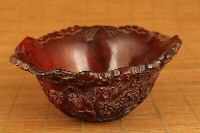 unique chinese tibet yak horn hand carved sage bowl collectable