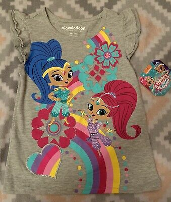 Nickelodeon Toddler Girl Shimmer & Shine S/S Tee Gray Size 5T NWT