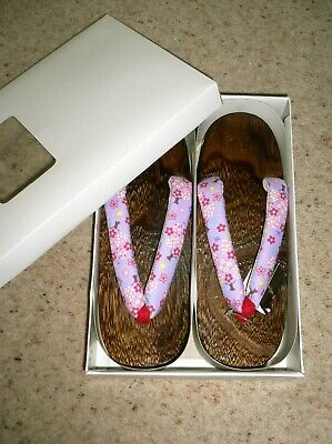 Rare New Japanese Geta Zori Lacquered Wooden Kimono Sandals Shoes max UK 5, 24cm