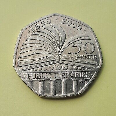 2000 Public Libraries Anniversary 50p Coin. Collectable. Circulated. FREEPOST
