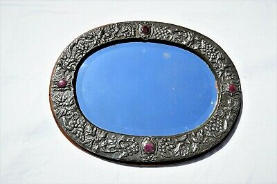 SUPERB ARTS & CRAFTS CORNISH PEWTER & RUSKIN CABOCHONS WALL MIRROR Liberty & Co