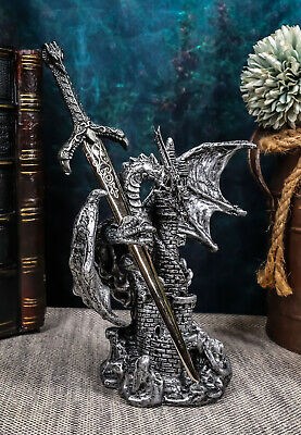 Legendary Silver Dragon On Castle Tower With Rune Sword Letter Opener Figurine