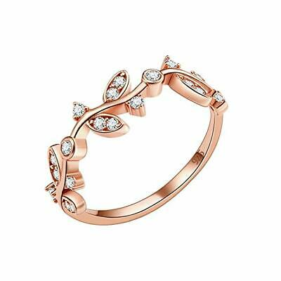 Olive Branch Pattern Round White VS/SI 1/10 Ct Diamond 14K Rose Gold Plated Ring