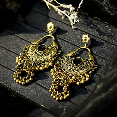 Indian Jhumka Gypsy Jewelry Gold Boho Vintage Ethnic Women Drop Bohemia Earrings