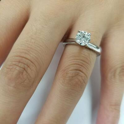 G SI2 1 ct Diamond Solitaire Round Brilliant Cut Natural Real 14k White Gold sz7