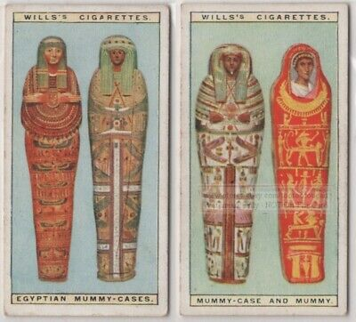 2 Ancient Egyptian Mummy Cases Pyramid Tomb 90+ Y/O Ad Trade Card