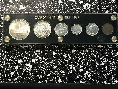 1939 Canada 6 Coin Cent-Dollar Uncirculated Mint Set in Custom Lucite Holder!