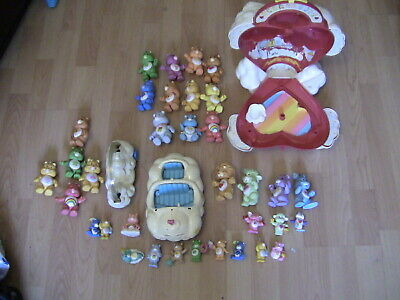 huge bundle of 1980's vintage care bear toys, including heart case, car, cousins
