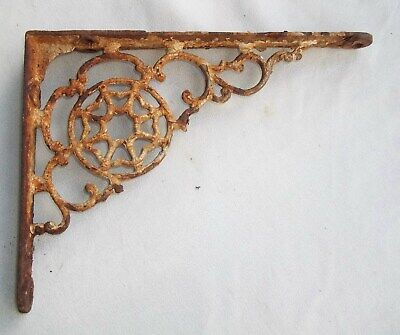 1 Antique Victorian Cast Iron Octagram 8 Sided Star Shelf Bracket Support 7 3/4""