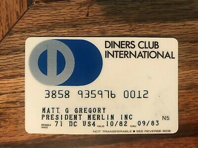 Diners Club International Expired Credit Card Matt G. Gregory Signed 1982