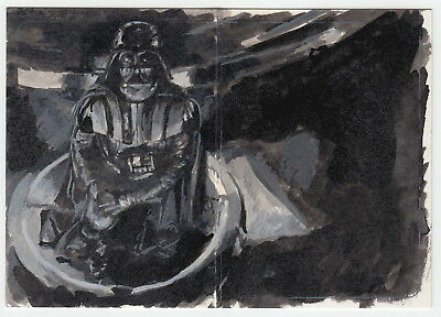 "Star Wars ESB Illustrated ""Darth Vader"" Panorama Sketch Card by Charles Hall"