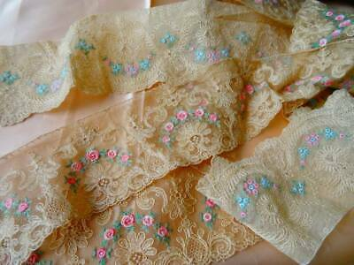 Two Stunning Lengths Of Art Deco Lingerie Lace Tiny Embroidered Roses