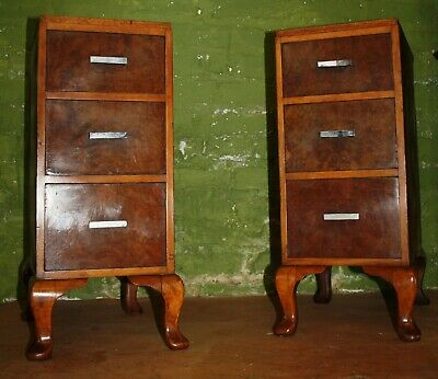 Good pair of Art Deco modernist burr walnut 1930s bedside cabinets tables