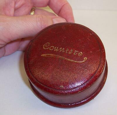 1930s/1940s Vintage/Antique RED LEATHER Gaming COUNTERS Dice POT Round Box