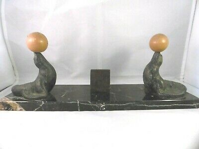 Fab French Art Deco menu stand. Performing seals, spelter & marble.