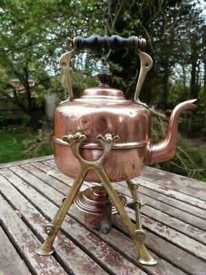 Antique Arts & Crafts Style Copper & Brass Spirit Kettle With Stand & Burner.