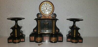 Antique French Black Onyx And Marble Clock Garniture Japy Freres Movement 8 Day
