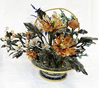 Vintage Chinese  Bonsai Tree With Cloisonne Pot