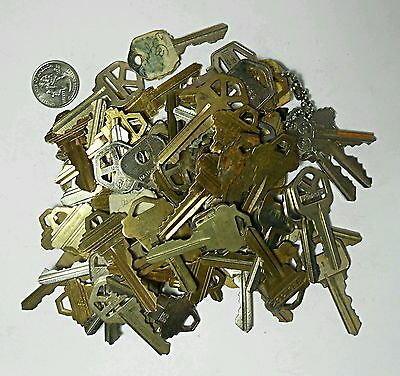 1+ Lb Pound of House Keys Brass Nickel Silver Plate Collectible Arts Craft Stamp