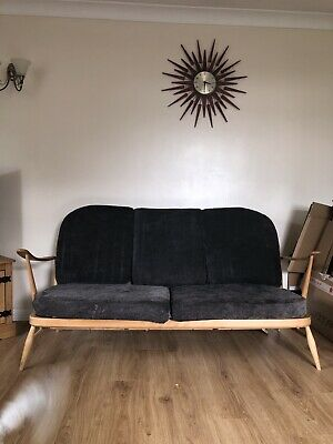 Vintage Retro Ercol Blonde 3 Seater Sofa With Blue/Grey colour Cushions