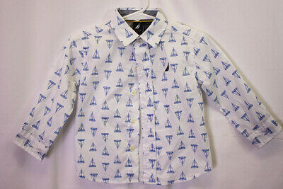 NAUTICA BABY BOY size 18 Months ADORABLE SHIRT WITH SAIL BOAT DESIGN 18M