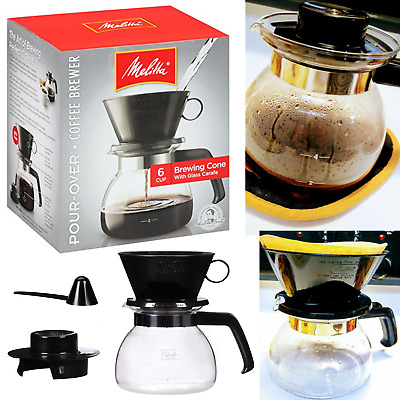 Melitta Coffee Maker 6 Cup Pour-Over Brewer with Glass Carafe 4 filters brewing