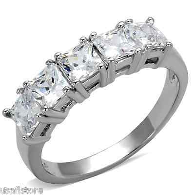Five Princess Cut CZ Stones Silver Rhodium Plated Ladies Ring Size 7