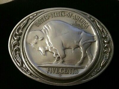 United States of America Five Cents Buffalo Nickle Belt Buckle Silvertone