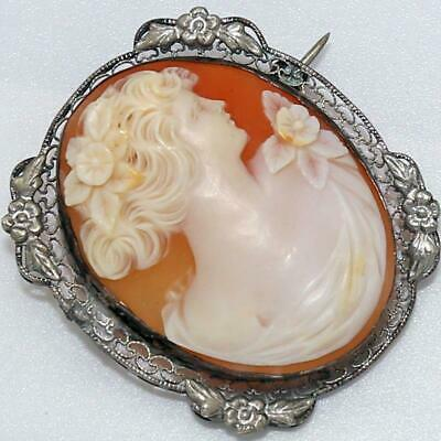 Lovely Large Antique Victorian Sterling Filigree Carved Shell Cameo Brooch An68