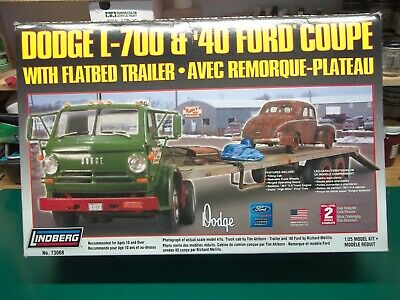 1/25 Lindberg Dodge L-700 w Flatbed & 40 Ford Coupe NEW Open Box