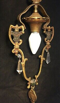 Antique Ornate Gothic Medieval Brass Chandelier Hanging Ceiling Light Fixture