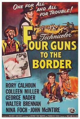 16mm FOUR GUNS TO THE BORDER-1954. I.B Tech SCOPE color WESTERN Feature Film.
