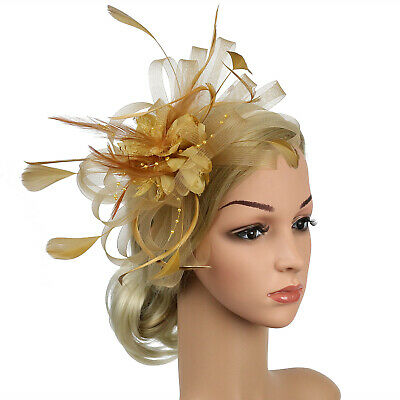 Women Feather Head Clip Vintage Fascinator Party Wedding Hair Clip Accessories