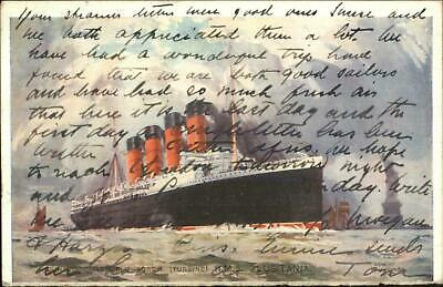 Steamship Ill-Fated Lusitania NYC Harbor PAQUEBOT Cancel Used 1907 Postcard
