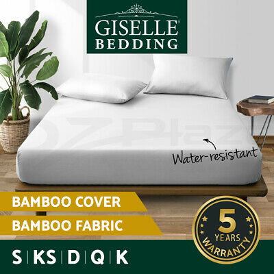 Giselle Waterproof Mattress Protector Queen Cotton Bamboo Fibre Cover All Size