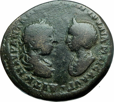 ELAGABALUS & JULIA MAESA Authentic Ancient Marcianopolis Roman Coin TYCHE i78842